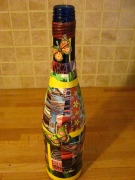 Collage on bottle